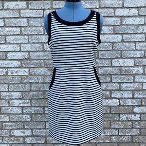 C. Luce Sleeveless Striped Cutout Dress
